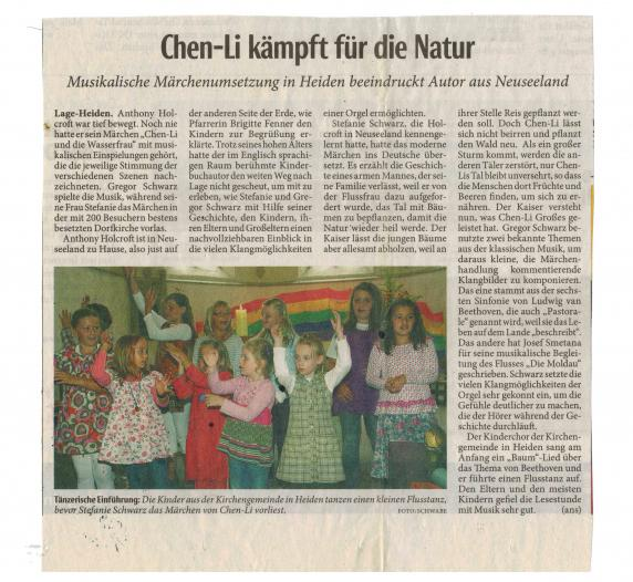 This graphic is a clipping from a German language newspaper. It contains a review of a muscial production of Anthony Holcroft's story Chen Li and the River Spirit.
