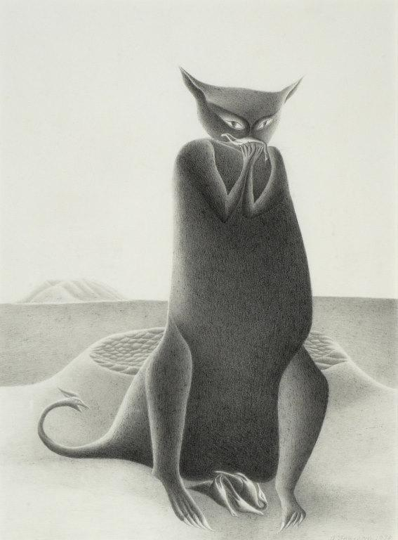 "Pencil illustration ""The Cat"" by Tony Fomison"