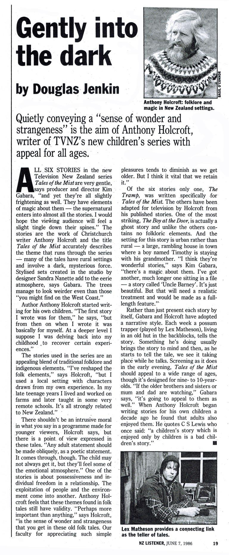 """PDF of a review of """"The Tales of the Mist"""" by Anthony Holcroft, NZ Listener, 1986"""